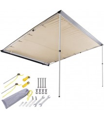 AMPERSAND SHOPS 8-1/5' x 8-1/5' Retractable Portable Camping SUV Vehicle Automobile Sun Shade Shelter Side Awning Attachment 67 sq. ft