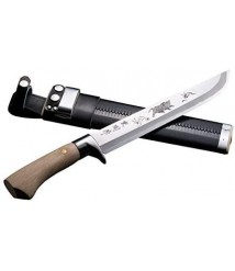 AZUMASYUSAKU HONMAMON Hunting Knife with Carving of a Boar 240mm Japanese Outdoor Knife