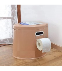 6L Large Portable Compact Toilet Potty Loo, Ith Washable Basket and Toilet, for Camping Pool Caravan Picnic & Festivals,Brown