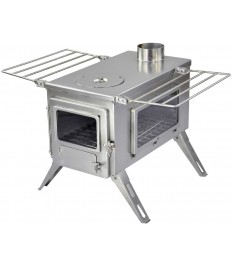 Winnerwell Nomad View Large Tent Stove   Portable Wood Burning Stove for Tents, Shelters, and Camping   1500 Cubic Inch Firebox   Precision Stainless Steel Construction   Includes Chimney Pipe