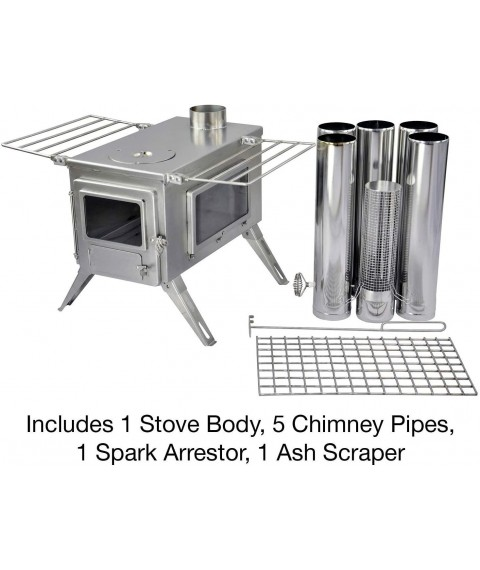 Winnerwell Nomad View Large Tent Stove | Portable Wood Burning Stove for Tents, Shelters, and Camping | 1500 Cubic Inch Firebox | Precision Stainless Steel Construction | Includes Chimney Pipe