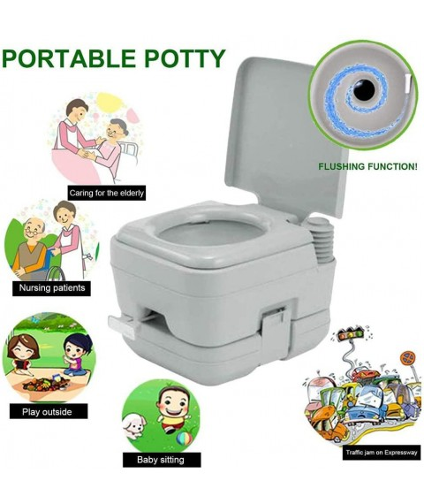 10L Flush Outdoor Indoor Travel Camping Portable Toilet for Car, Boat, Caravan, Campsite, Hospital, Toilet Chemical Loo Bathroom Accessories Sets