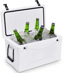 7DIPT 64 Quart Heavy Duty Outdoor Insulated Fishing Hunting Ice Chest (White)