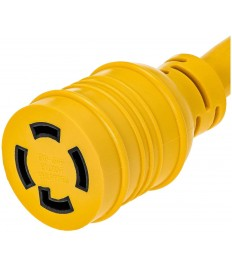 100 Foot Heavy Duty Generator Locking Power Cord NEMA L14-30P/L14-30R,4 Prong 10 Gauge SJTW Cable, 125/250V 20Amp 7500 Watts Yellow Generator Lock Extension Cord with UL Listed Magellan