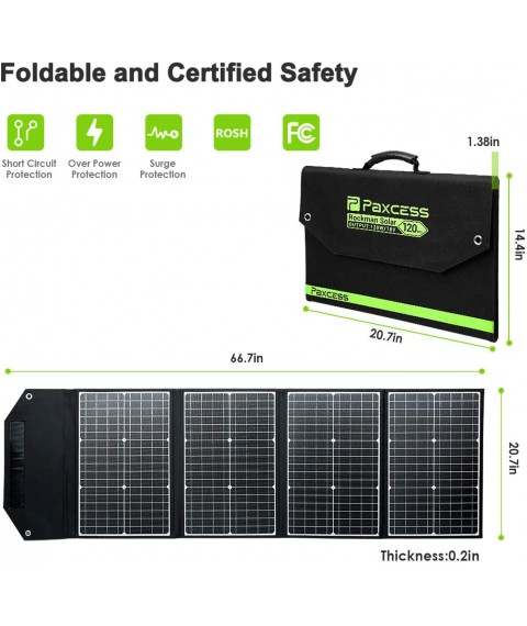 PAXCESS RV Solar Panel, 120W 18V Portable Folding Solar Panel with USB QC 3.0, Type C Output, Off-Grid Emergency Power Supply for RV Camping Travel Outdoor Backup