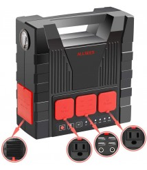Allsees 220Wh Portable Power Stations with Flashlight, IPX4 Waterproof Solar Generator with 4 USB Ports, Lithium Battery Backup for Outdoor Camping Travel Emergency (Solar Panel Not Included)