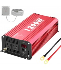 1200Watts Pure Sine Wave Power Inverter DC 12V to AC 120V with Remote Control USB Port & LED Display for RV Laptop & Emergency