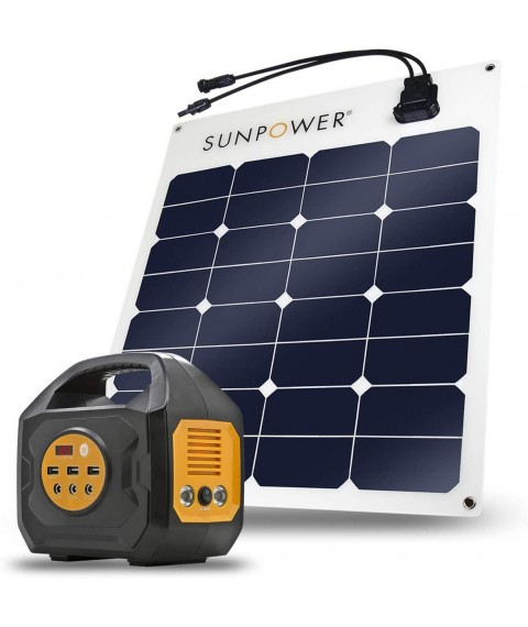 ExpertPower S200 Solar Generator with SunPower 50W Flexible Solar Panel for Camping, Power Supply and Emergency Backup