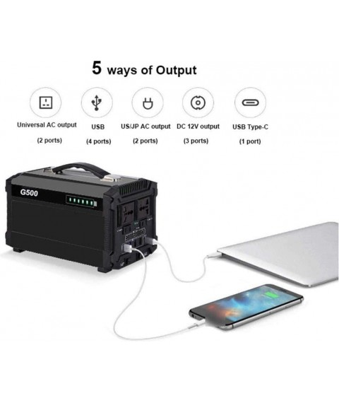 CHUXJ Outdoor Generators, Portable Power Station 444WH, Laptop Charger Lithium Battery Power Supply with 110V/500W Pure Sine Wave, DC USB Type-c Ports for Outdoors Camping Home Emergency