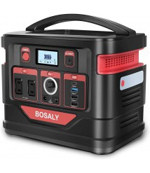 BOSALY Portable Power Station, 296Wh CPAP Fast Charger Lithium Backup Battery Pack 110V 300W Solar GeneratorPure Sine Wave AC Outlet USB DCSupply for Outdoors Camping Travel Hunting Emergency