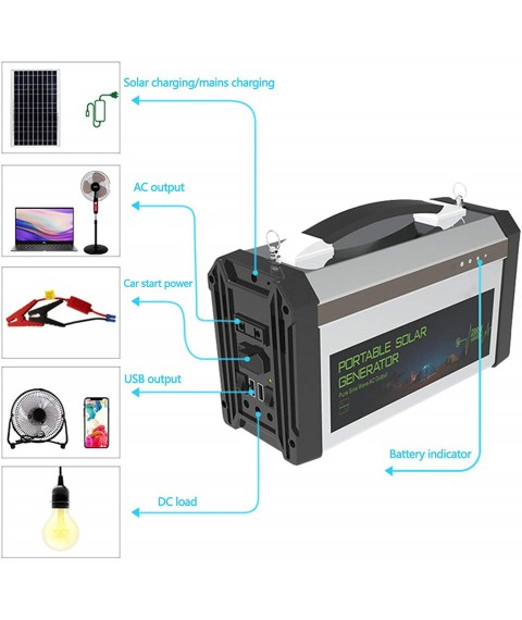 Portable Solar Generator Kit,300W Solar Charger Power Station 230V Home Backup Mobile Power System for Laptop Outdoor Camping Fishing Emergency Power Failure