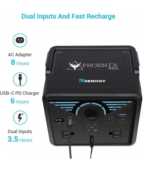 Renogy Phoenix 337WH Solar Generator, Portable Pure Sine Wave Power Station, Lithium Backup Power Supply with Quick Charge USB, Power Delivery Type-C, D-Tape, AC Outlet for CPAP Camping Camcorder